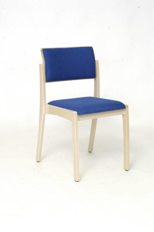 Stuhl Tiss ohne Armlehnen und mit blauer Sitz- und Rückenpolsterung